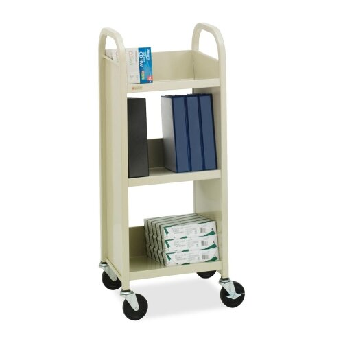 "Bretford Manufacturing Inc Book/Equipment Truck, 3 Slant Shelves, 17""x13""x43"", Putty/Blue"
