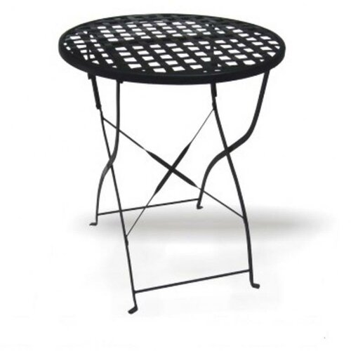 DC America Round Wrought Iron Folding Dining Table with Mesh Top