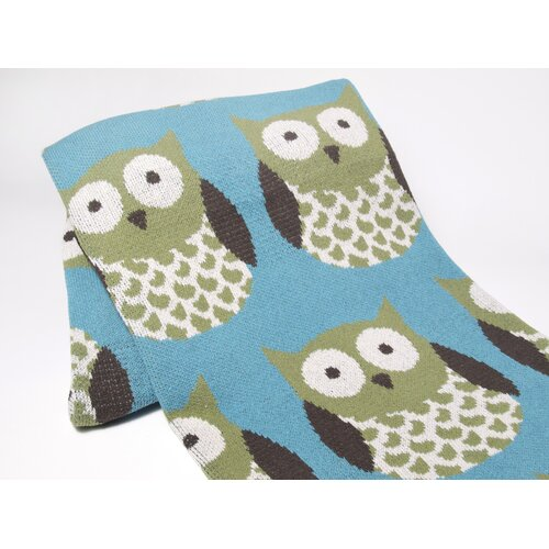 Crazy Owls Cotton Throw
