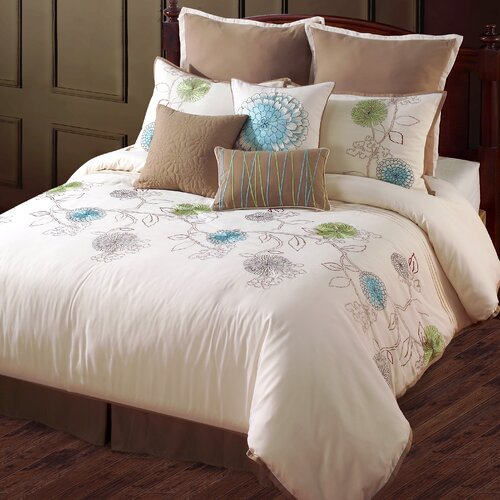 Spring Flower 9 Piece Queen Comforter Set