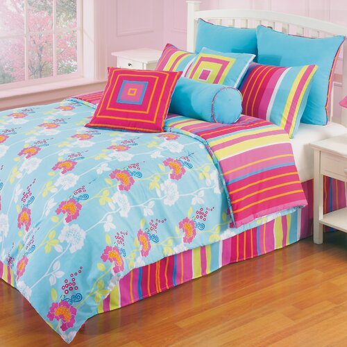 Hallmart Collectibles Funky Flower 4 Piece Full Comforter Set