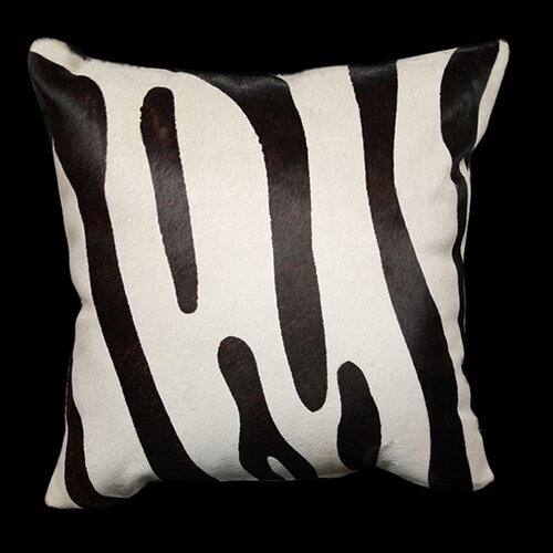 Hallmart Collectibles Safari Zebra Genuine Leather Pillow