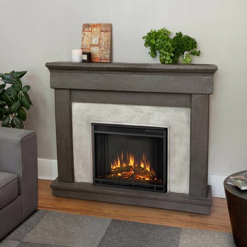 Real Flame Cascade Cast Mantel Electric Fireplace