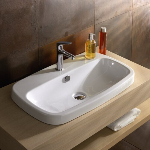 Bathroom Sink Drop In : Cangas Ceramic Bathroom Sink with Overflow