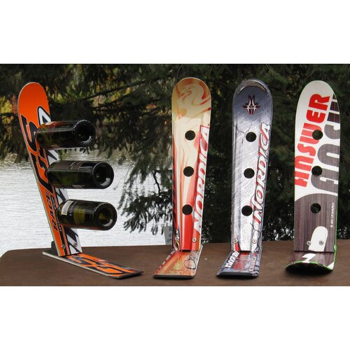 Ski Chair Snow 3 Bottle Tabletop Wine Rack