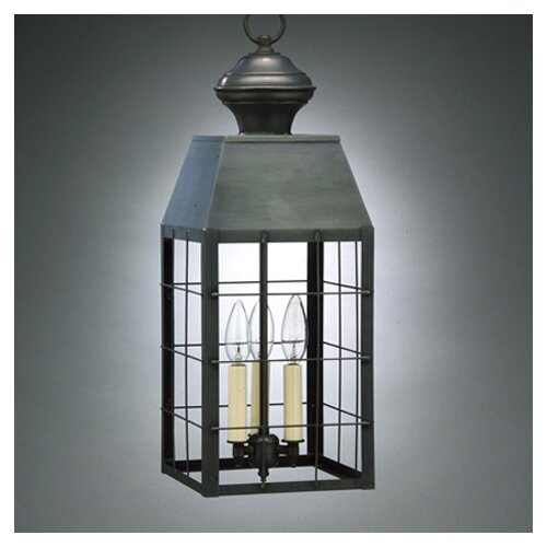 Northeast Lantern Woodcliffe Candelabra Sockets H-Rod 3 Light Hanging Lantern