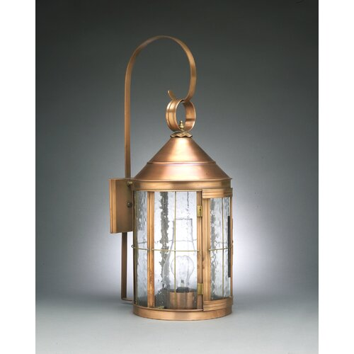 Northeast Lantern Heal Medium Base Socket Cone Top with Top Scroll Wall Lantern
