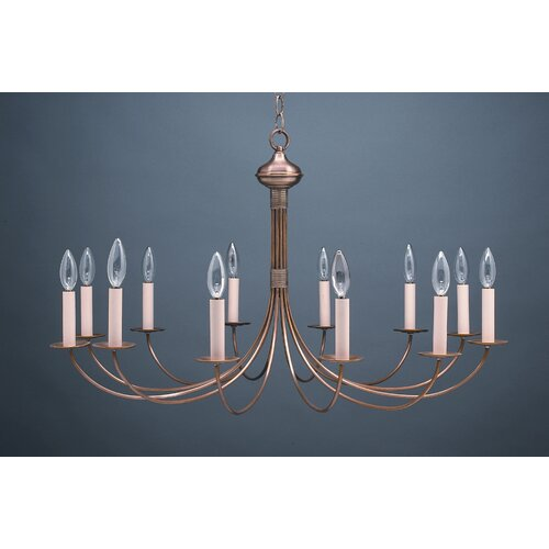 Chandelier 12 Light Candelabra Sockets J-Arms Hanging Chandelier