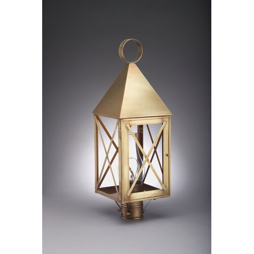 Northeast Lantern York 1 Light Chimney Pyramid Top X-Bars Post Lantern