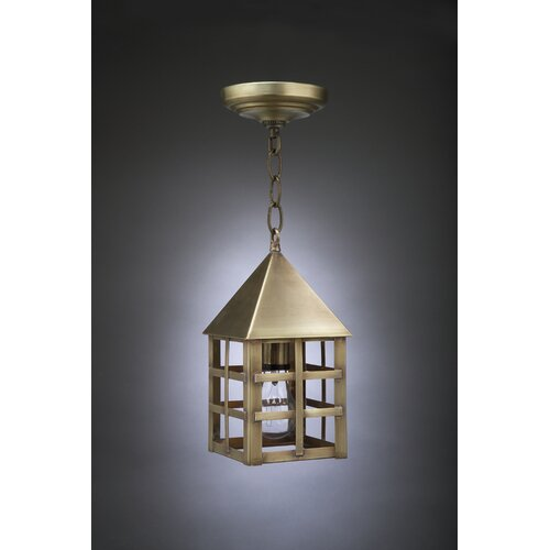 Northeast Lantern York Medium Base Socket Pyramid Top H-Bars 1 Light Hanging Lantern