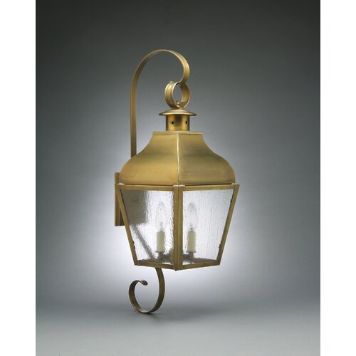 Northeast Lantern Stanfield Medium Base Socket Curved Top with Top and Bottom Scroll Wall Lantern