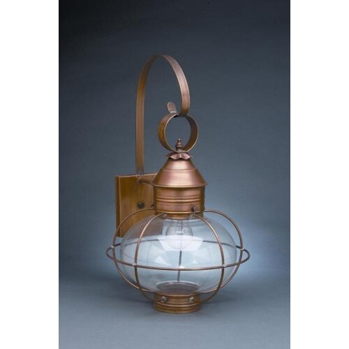 Northeast Lantern Onion Medium Base Socket Cage with Extended Scroll Wall Lantern