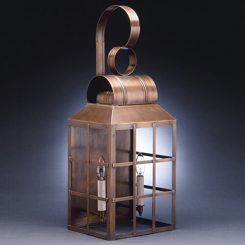 Northeast Lantern Lynn 2 Candelabra Sockets Culvert Top H-Bars Wall Lantern