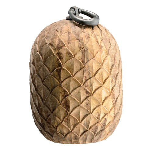 Pineapple Mango Wood Doorstop Statue