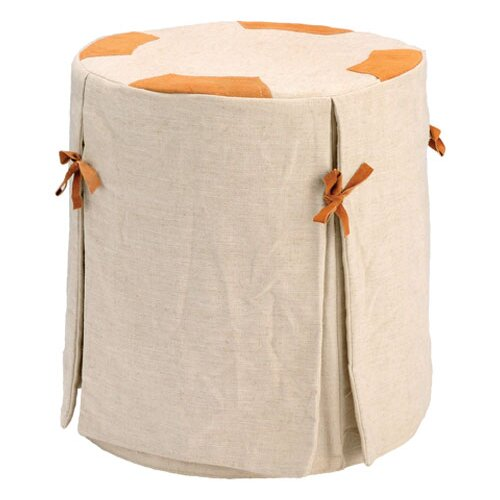 Chalet Wood Stool with Linen Cover