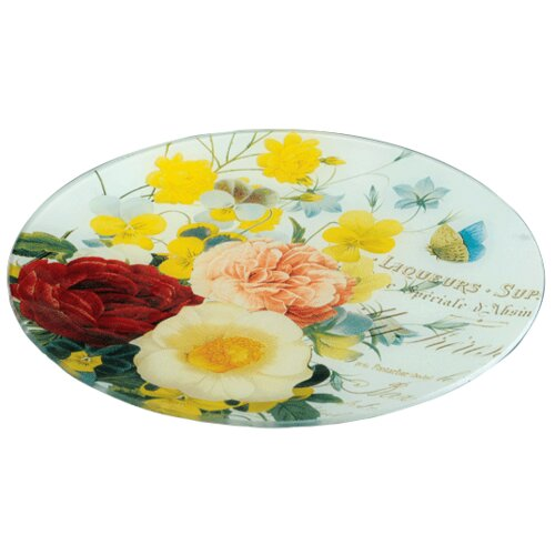 Glass Floral Decorative Plate (Set of 4)