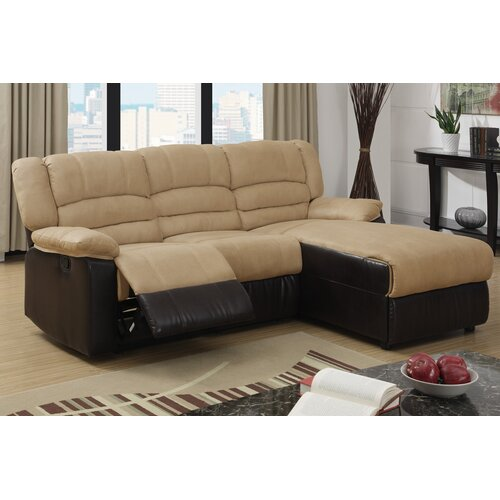 Bobkona Microfiber Loveseat Recliner Right Chaise