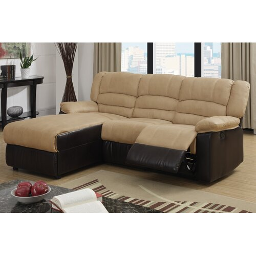 Bobkona Microfiber Loveseat Recliner Left Chaise