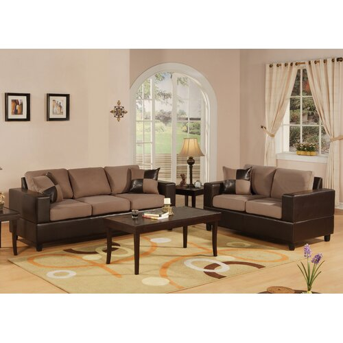 Poundex Bobkona 2 Piece Sofa and Loveseat Set