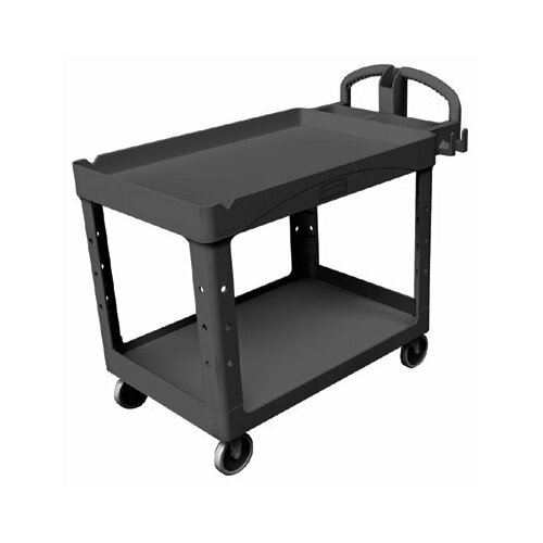 Rubbermaid Commercial Products Rubbermaid Commercial - Heavy-Duty Lipped Shelves Utility Carts Hd Lipped 2-Shelf Utility Cart Large: 640-4546-10-Bla - hd lipped 2-shelf utility cart large