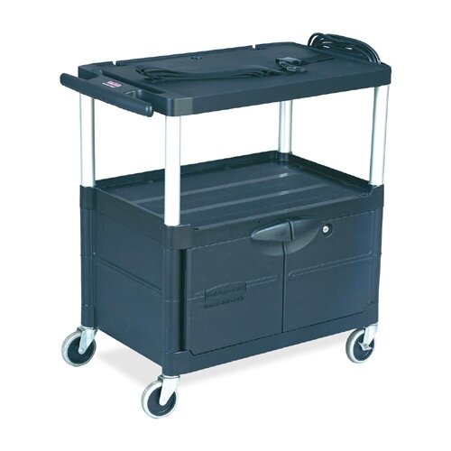 Rubbermaid Commercial Products Audio-visual Cart, 3 Shelves w/ Cabinet, 3 Outlets, Black