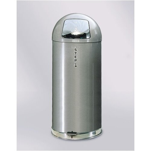 Rubbermaid Commercial Products StepMaster Silver Metallic Round Top Receptacle