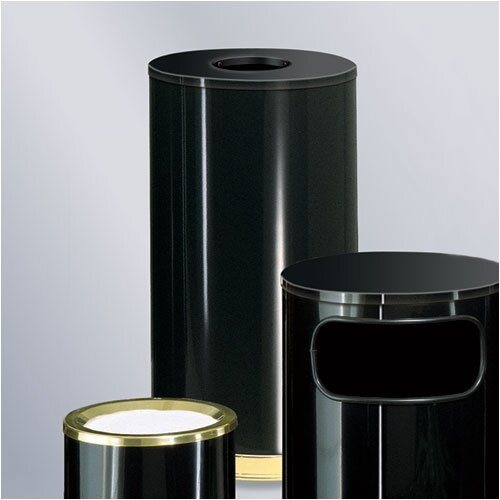 Rubbermaid Commercial Products European Designer 15 Gal.  Black/Brass Waste Receptacle