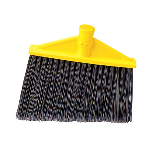 Rubbermaid Commercial Products Threaded, Angled Replacement Broom Head in Gray and Yellow