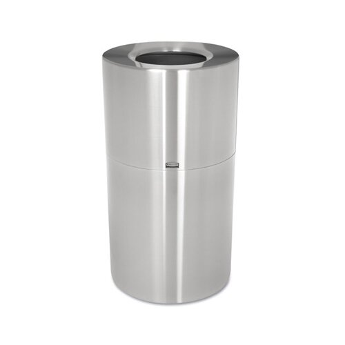 Rubbermaid Commercial Products Two-Piece Open Top Indoor Receptacle in Satin Aluminum