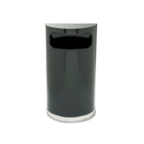 Rubbermaid Commercial Products European and Metallic Series Half-Round Receptacle in Black / Chrome