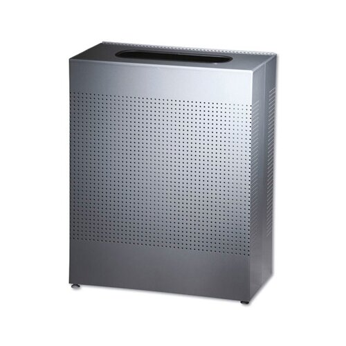 Rubbermaid Commercial Products 40 Gallon Designer Line Silhouettes Square Steel Receptacle in Silver
