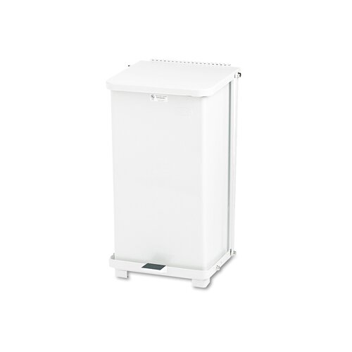 Rubbermaid Commercial Products 12 Gallon Defenders Biohazard Square Step Can in White