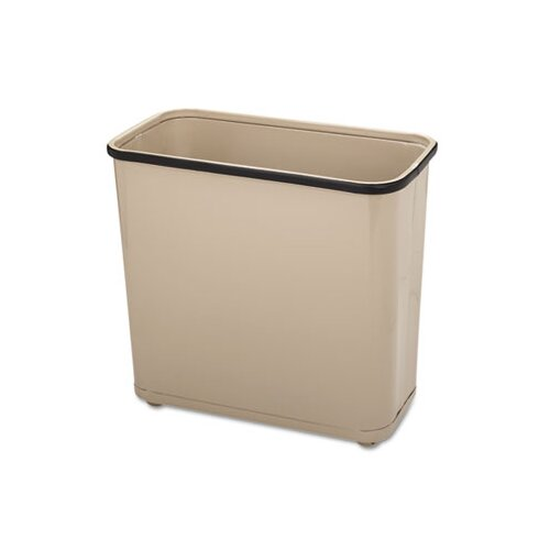 Rubbermaid Commercial Products Fire-Safe Wastebasket, Rectangular, Steel, 7.5gal, Almond