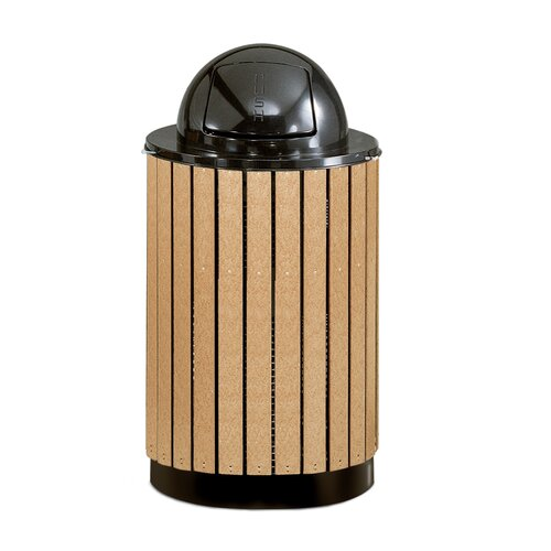 Rubbermaid Commercial Products Howard Towne 63 Gal. Perma-Wood Free Standing Receptacle
