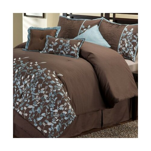 Embroidered Leaves 8 Piece Comforter Set