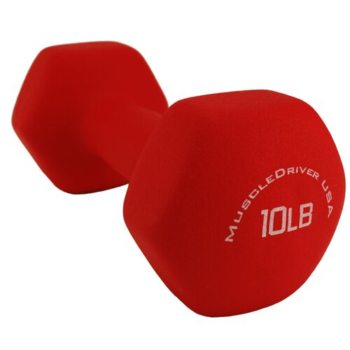 Muscle Driver USA Neoprene Coated Hex Dumbbells in Red