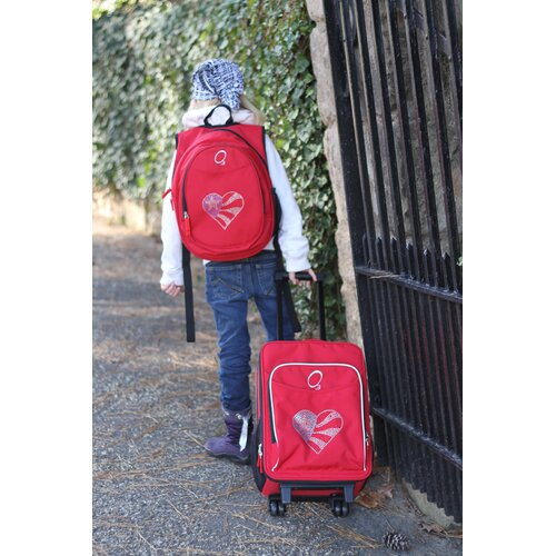 Obersee 2 Piece Flag Heart Kids Luggage and Backpack Set