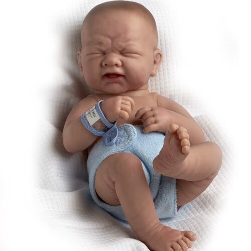 "JC Toys La Newborn - 14"" Closed Eyes Real Boy Vinyl Doll"