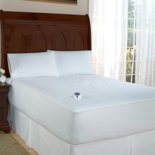 Perfect Fit Industries Polyester Electric Heated Warming Mattress Pad Dobby Stripe