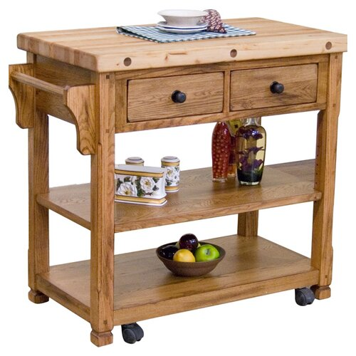 sunny designs sedona kitchen cart with butcher block top