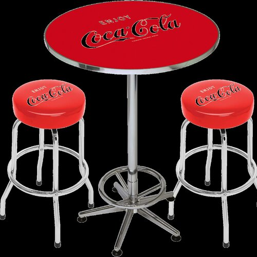 On The Edge Marketing Coca Cola Licensed 3 Piece Pub Table Set