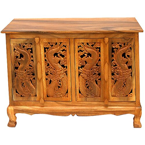 Acacia Chinese Dragon Sideboard Buffet