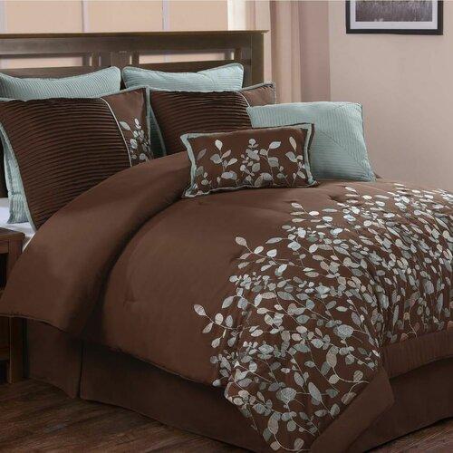 Jardin Embroidered Leaves 8 Piece Comforter Set (Set of 8)