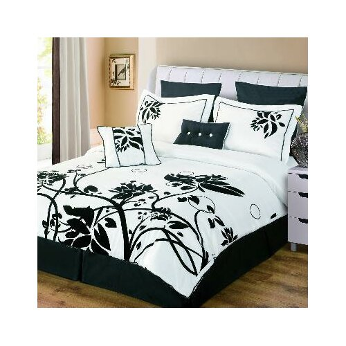 Luxury Home Chelsea 8 Piece Flocked Comforter Set