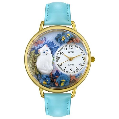 Whimsical Watches Unisex White Cat Baby Blue Leather and Goldtone Watch in Gold