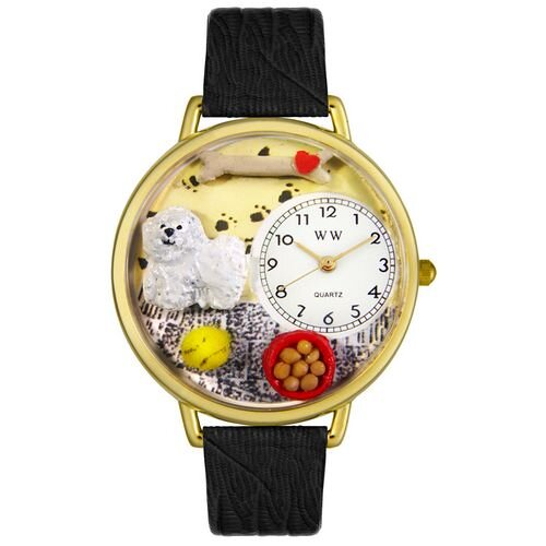 Whimsical Watches Unisex Bacon Black Skin Leather and Goldtone Watch in Gold