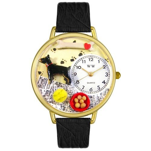Whimsical Watches Unisex Doberman Pinscher Black Skin Leather and Goldtone Watch in Gold