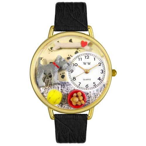 Whimsical Watches Unisex Schnauzer Black Skin Leather and Goldtone Watch in Gold