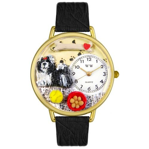 Whimsical Watches Unisex Shih-Tzu Black Skin Leather and Goldtone Watch in Gold
