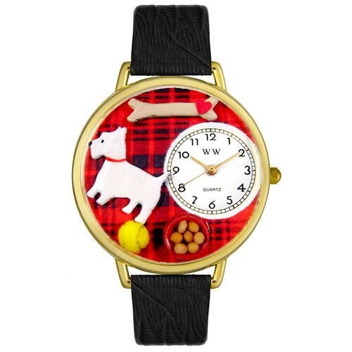 Whimsical Watches Unisex Westie Black Skin Leather and Goldtone Watch in Gold